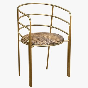 Dining Chair Gold Luxury 3D model