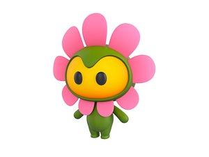 flower mascot character 3D model