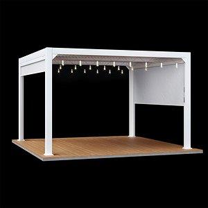 3D maranza terrace pergola white model