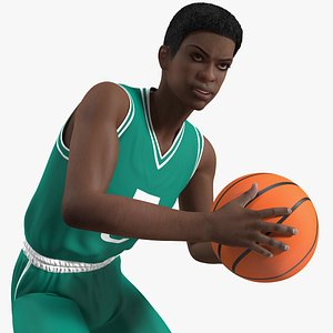 Dark Skin Young Man Basketball Player Rigged for Cinema 4D 3D model