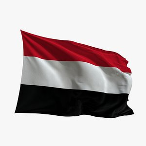 Realistic Animated Flag - Microtexture Rigged - Put your own texture - Def Yemen model