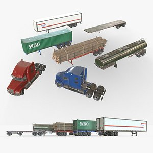 Semi Truck Collection - Low Poly 3D