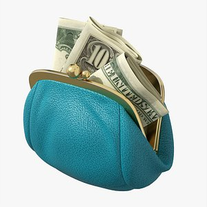 Female purse with banknotes 3D