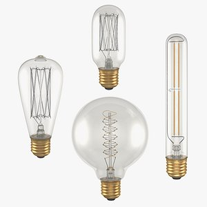 vintage edison light bulbs 3D model