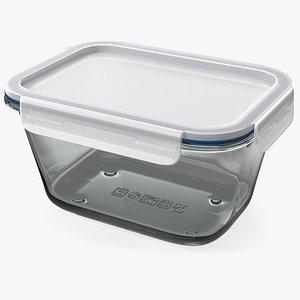 Rectangular Glass Clip Lock Food Container 1800ml 3D model