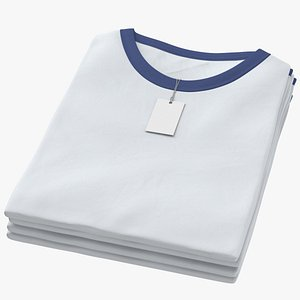 3D Female Crew Neck Folded Stacked With Tag White and Dark Blue 01 model