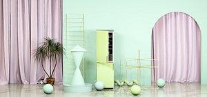 C4D e-commerce elegant indoor scene creative space poster background refrigerator fairy tale 3D model