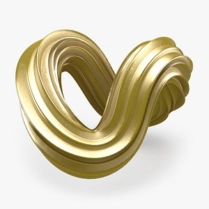 3D Abstract Shape 03 Gold model