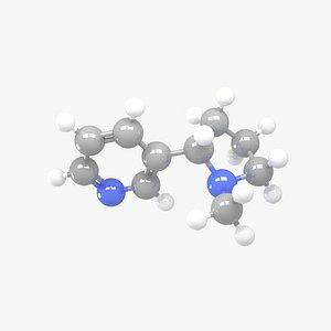 3D Nicotine - C10H14N2 Molecular Structure model