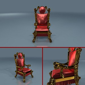 realistic king throne 3D model