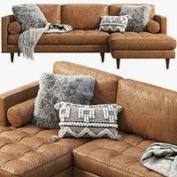 Joybird Briar Leather Sectional Sofa brown and black