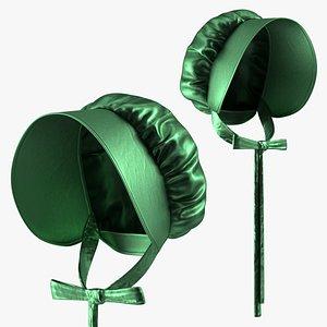 3D Satin Bonnet Hat Emerald