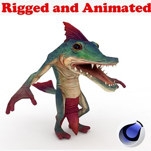 3D CrocFish Rigged and Animated