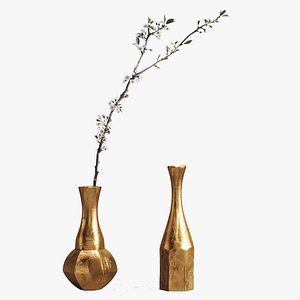 3D PBR ALUMINIUM VASES with CHERRY BRANCH by ZARA HOME model