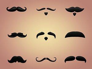 3D mustaches cartoon toon