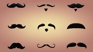 3D mustaches cartoon toon