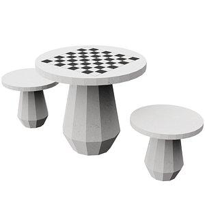 chess table concrete 3D model