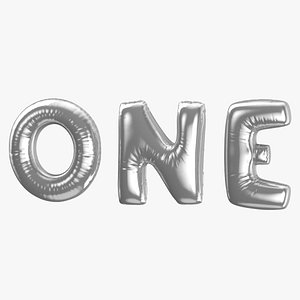 3D Foil Baloon Words One Silver model