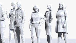 001211 100 people lowpoly 3D model