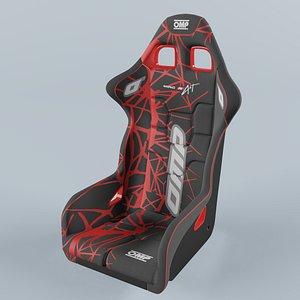 OMP WRC-R ART Racing Seat Black-Red 3D model