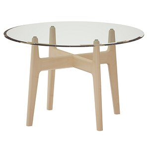 Tate 48 Round Dining Table with Glass Top and Sand Base model