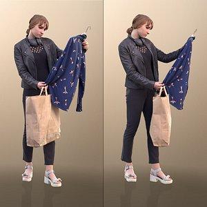 3D woman young shopping model