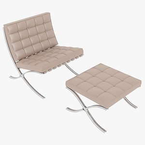 3D Knoll Beige Leather Barcelona Chair and Stool Ottoman Set model