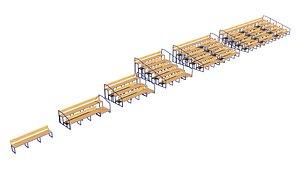 StadiumSeatingTribuneWoodenpack 3D model