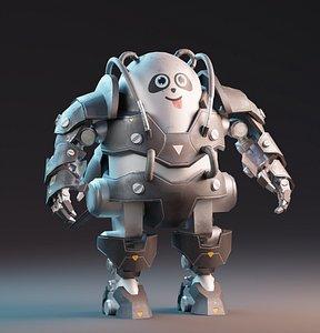 3D Panda Mecha Character
