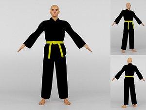 Karate Fighter Black Uniform 3D model
