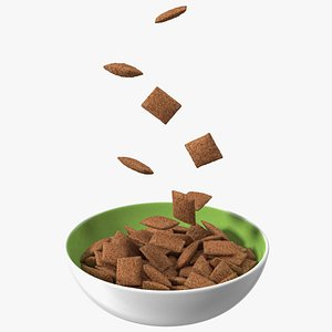 3D Chocolate Cereal Pillows Falling into Bowl model