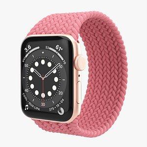 Apple Watch Series 6 braided solo loop gold 3D model