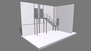 Attached metal staircase to the second floor 3D