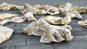 3D Old Newspaper Garbage model