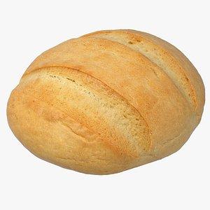 Realistic Round White Bread 3D model