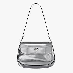Prada Cleo brushed leather shoulder bag with flap Silver 3D model