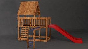 playground slide architecture 3D model