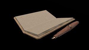 book notebook pen 3D