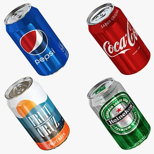 3D model beer cold drink can collection