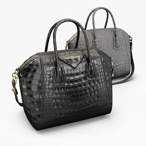 Crocodile effect leather handbag 3D model