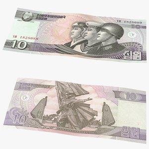 3D model North Korea 10 Won Banknote