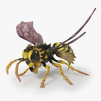 Giant wasp monster with bat wings and spines. Rigged  Game ready.