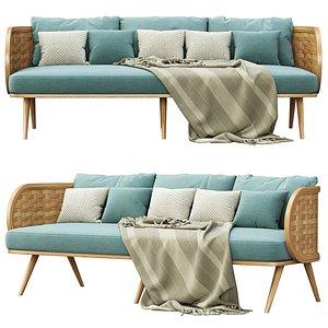3D Victoria wooden rattan three-seater sofa XY40