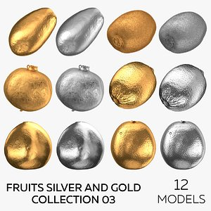 3D Fruits Silver and Gold Collection 03 - 12 models