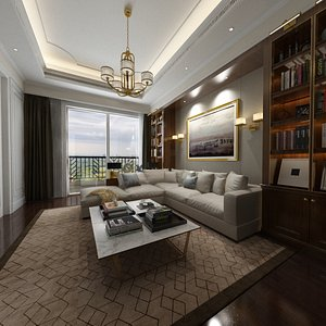 Living Room Design in Empire Style 3D model