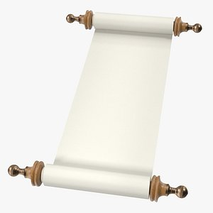3D Unfolded Blank Paper Scroll