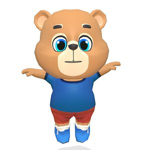 bear grizzly animations rig 3D model
