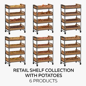 3D Retail Shelf 02 01 Collection with Potatoes - 6 Products