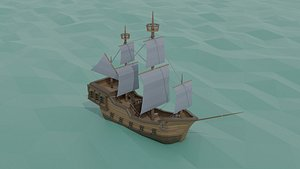 3D Low-poly cartoon medieval ship