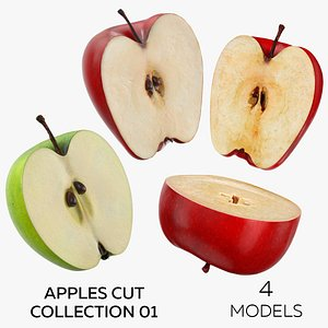 3D Apples Cut Collection 01 - 4 models